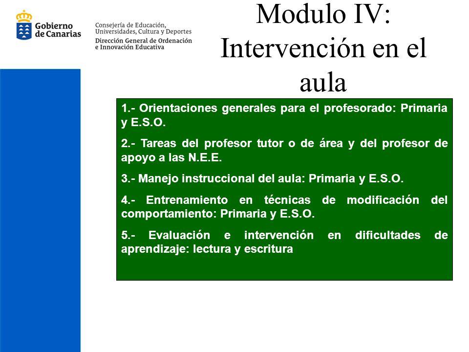 Modulo IV: Intervención en el aula 1.- Orientaciones generales para el profesorado: Primaria y E.S.O. 2.- Tareas del profesor tutor o de área y del pr