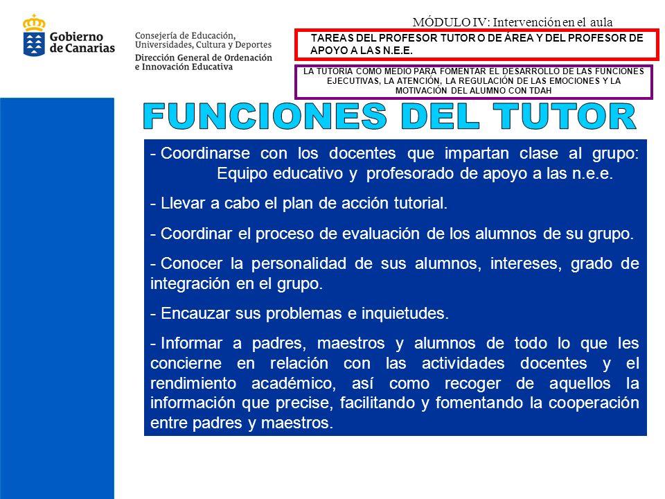 MÓDULO IV: Intervención en el aula TAREAS DEL PROFESOR TUTOR O DE ÁREA Y DEL PROFESOR DE APOYO A LAS N.E.E. - Coordinarse con los docentes que imparta
