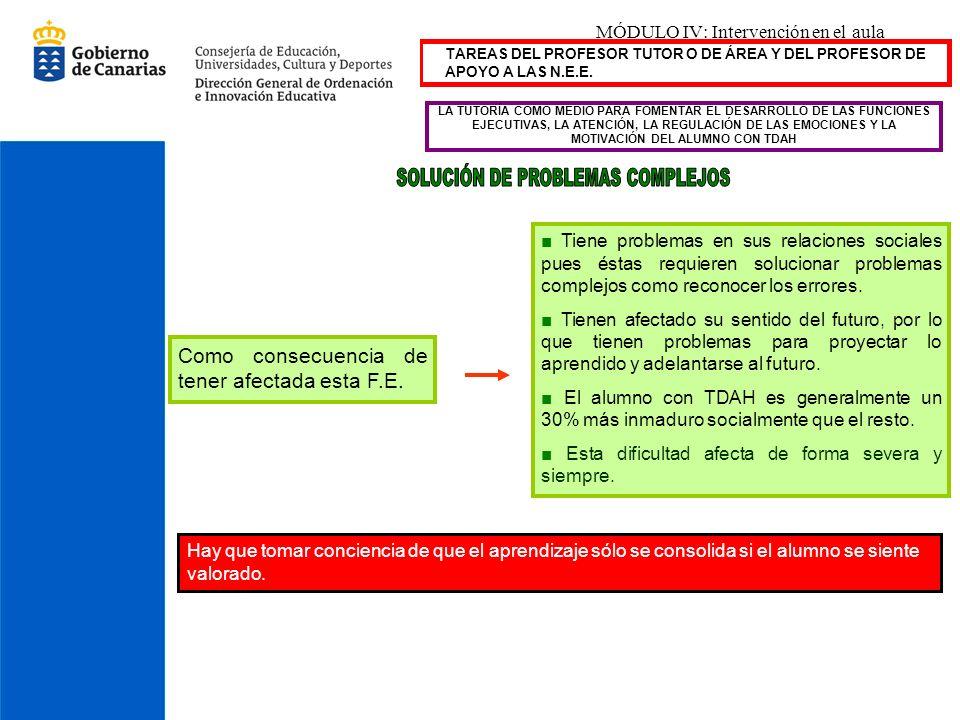 MÓDULO IV: Intervención en el aula LA TUTORÍA COMO MEDIO PARA FOMENTAR EL DESARROLLO DE LAS FUNCIONES EJECUTIVAS, LA ATENCIÓN, LA REGULACIÓN DE LAS EM