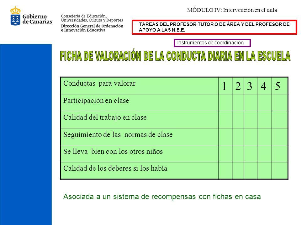 TAREAS DEL PROFESOR TUTOR O DE ÁREA Y DEL PROFESOR DE APOYO A LAS N.E.E. Instrumentos de coordinación Conductas para valorar 12345 Participación en cl