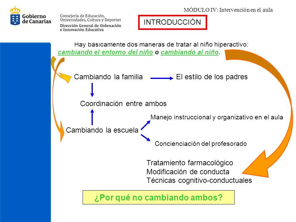 MÓDULO IV: Intervención en el aula Hay básicamente dos maneras de tratar al niño hiperactivo: cambiando el entorno del niño o cambiando al niño. Cambi