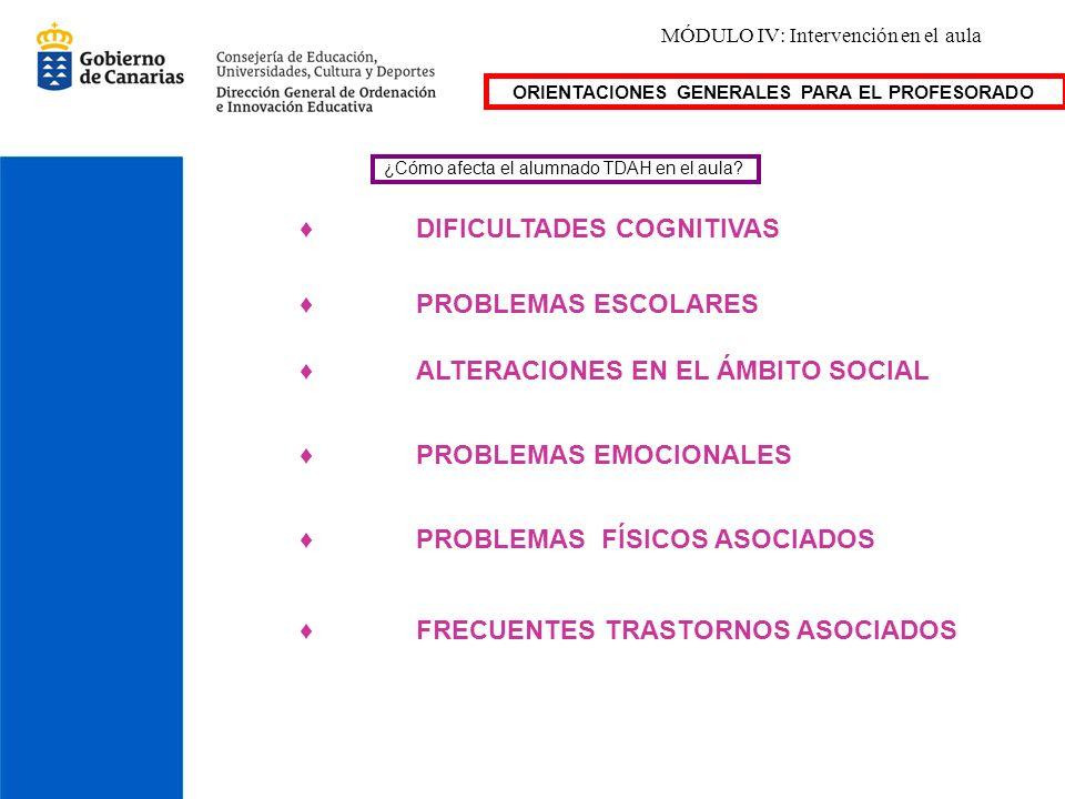 MÓDULO IV: Intervención en el aula ¿Cómo afecta el alumnado TDAH en el aula? DIFICULTADES COGNITIVAS ALTERACIONES EN EL ÁMBITO SOCIAL PROBLEMAS ESCOLA