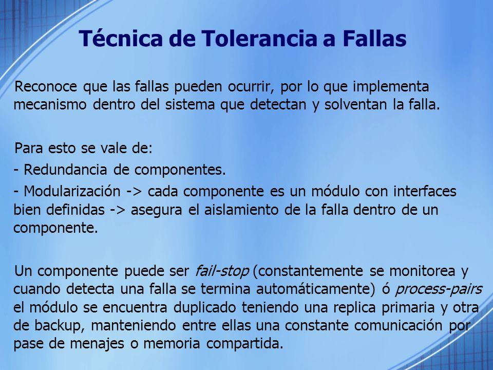 Técnica de Tolerancia a Fallas Reconoce que las fallas pueden ocurrir, por lo que implementa mecanismo dentro del sistema que detectan y solventan la