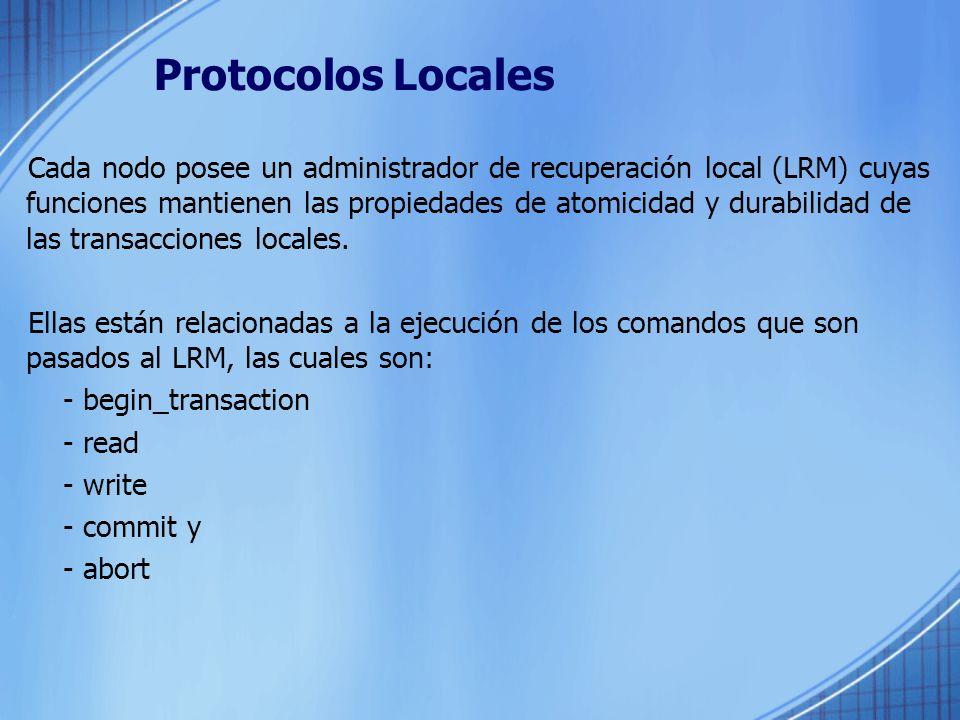 Protocolos Locales Cada nodo posee un administrador de recuperación local (LRM) cuyas funciones mantienen las propiedades de atomicidad y durabilidad