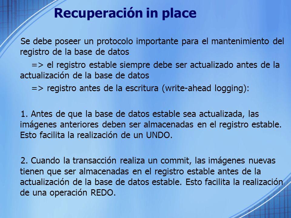 Recuperación in place Se debe poseer un protocolo importante para el mantenimiento del registro de la base de datos => el registro estable siempre deb