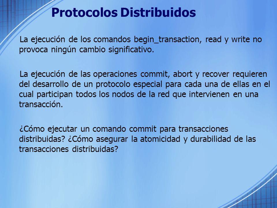Protocolos Distribuidos La ejecución de los comandos begin_transaction, read y write no provoca ningún cambio significativo. La ejecución de las opera