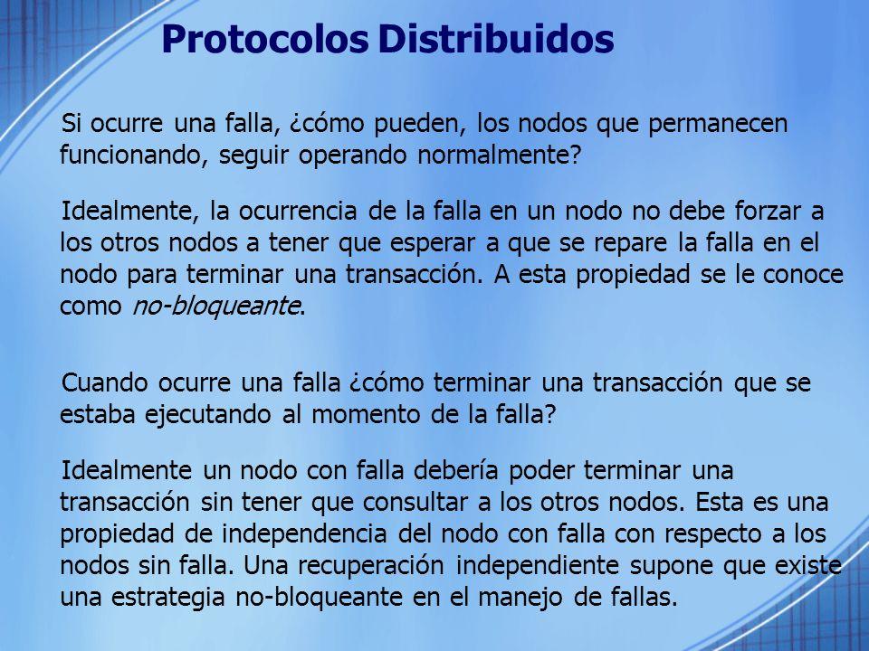 Protocolos Distribuidos Si ocurre una falla, ¿cómo pueden, los nodos que permanecen funcionando, seguir operando normalmente? Idealmente, la ocurrenci
