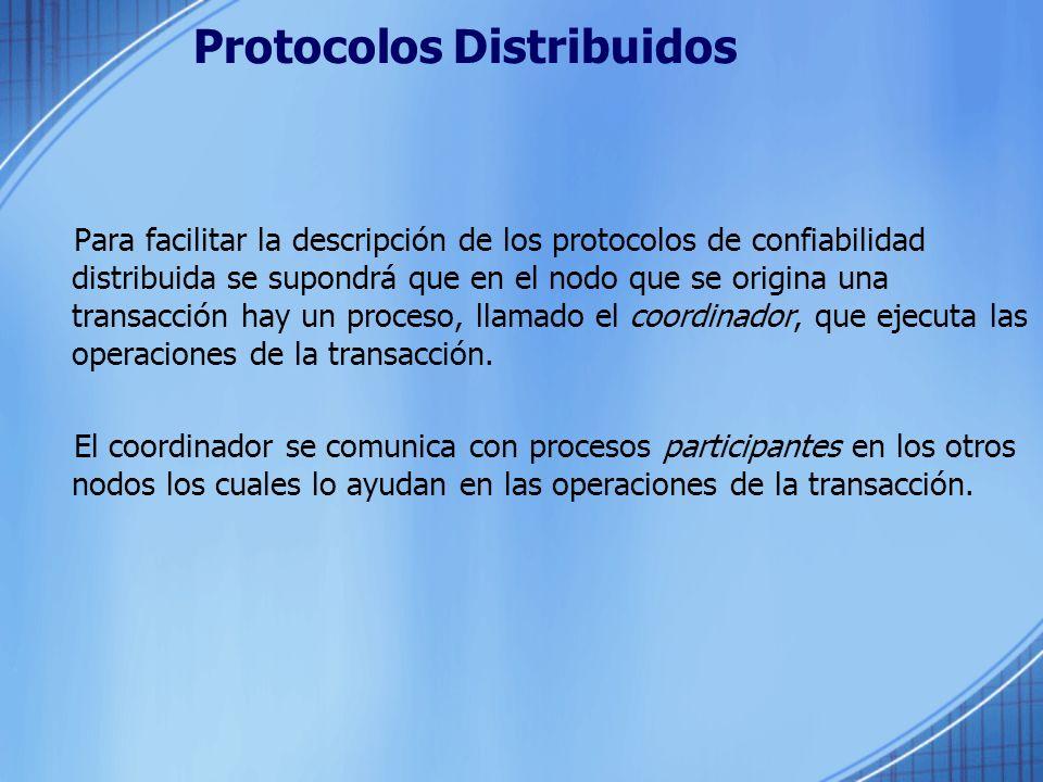Protocolos Distribuidos Para facilitar la descripción de los protocolos de confiabilidad distribuida se supondrá que en el nodo que se origina una tra