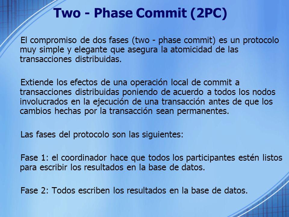 Two - Phase Commit (2PC) El compromiso de dos fases (two - phase commit) es un protocolo muy simple y elegante que asegura la atomicidad de las transa