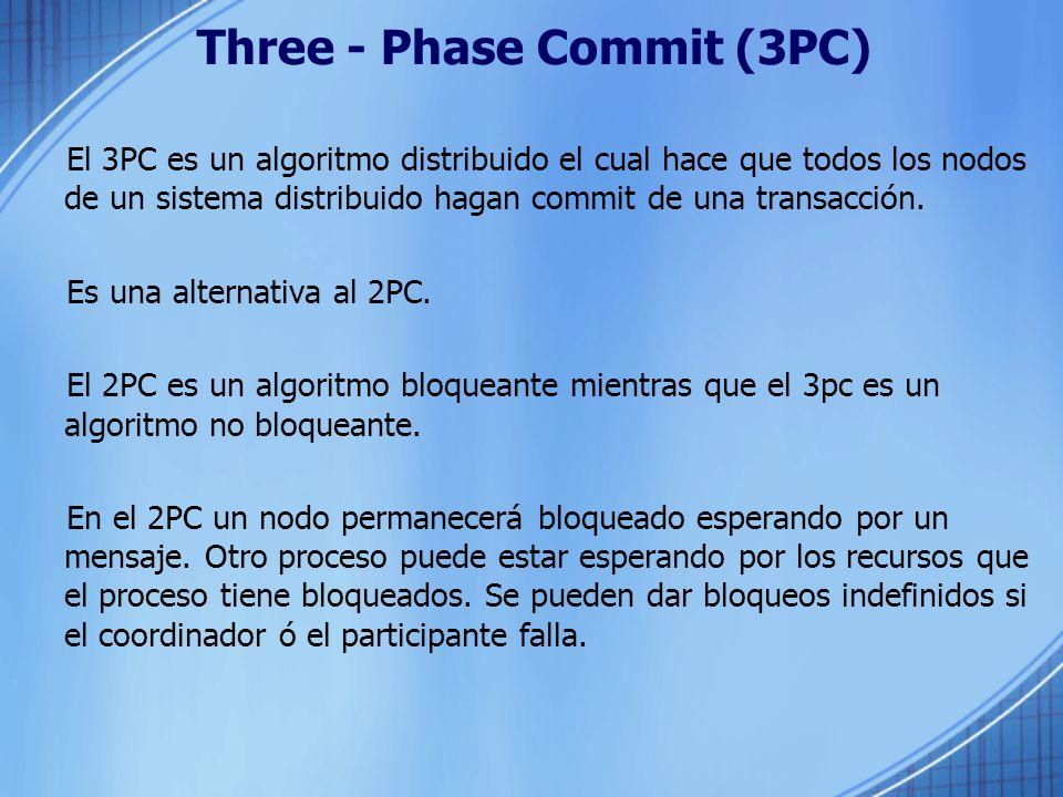 Three - Phase Commit (3PC) El 3PC es un algoritmo distribuido el cual hace que todos los nodos de un sistema distribuido hagan commit de una transacci