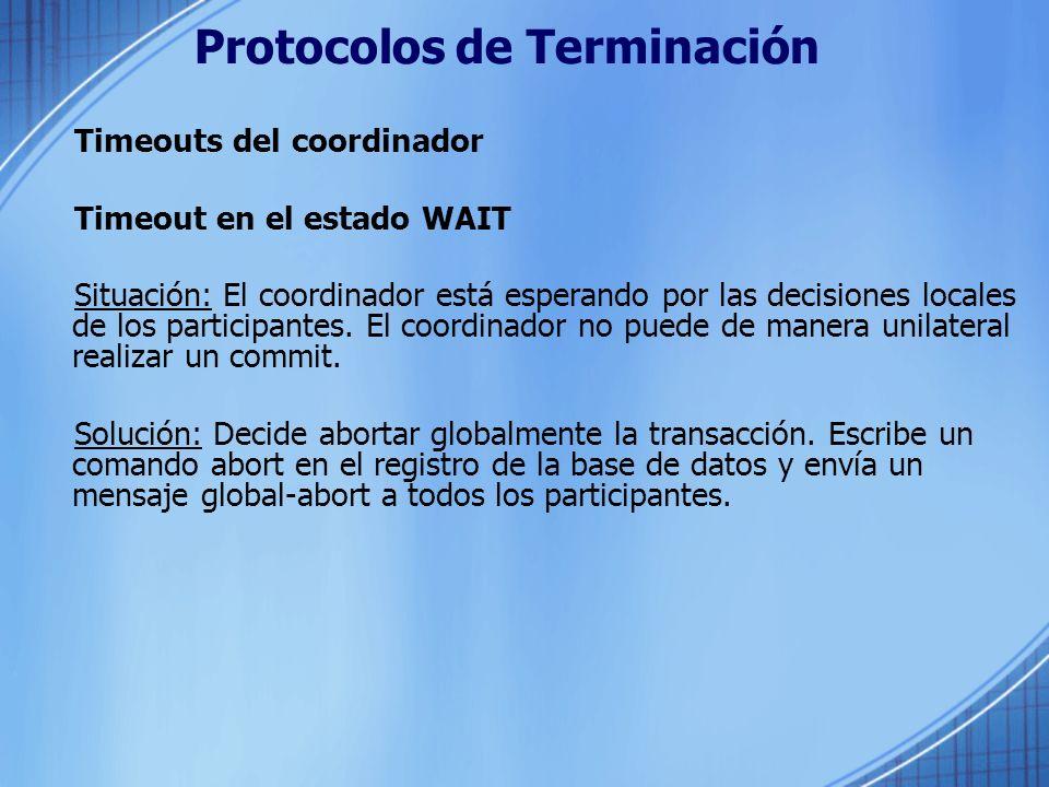 Protocolos de Terminación Timeouts del coordinador Timeout en el estado WAIT Situación: El coordinador está esperando por las decisiones locales de lo