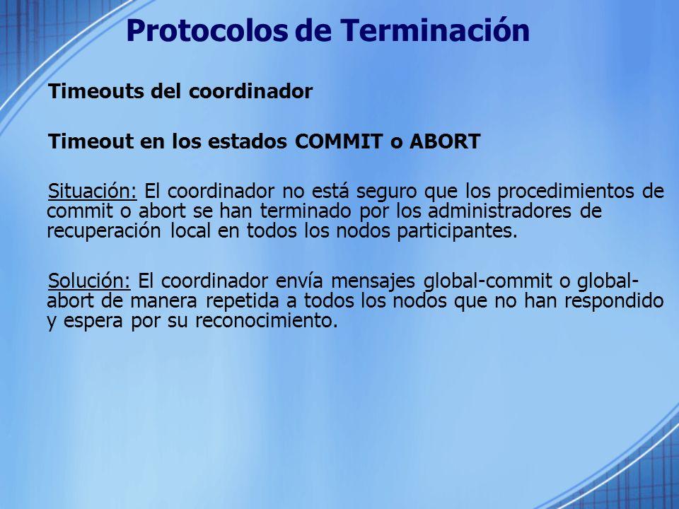 Protocolos de Terminación Timeouts del coordinador Timeout en los estados COMMIT o ABORT Situación: El coordinador no está seguro que los procedimient