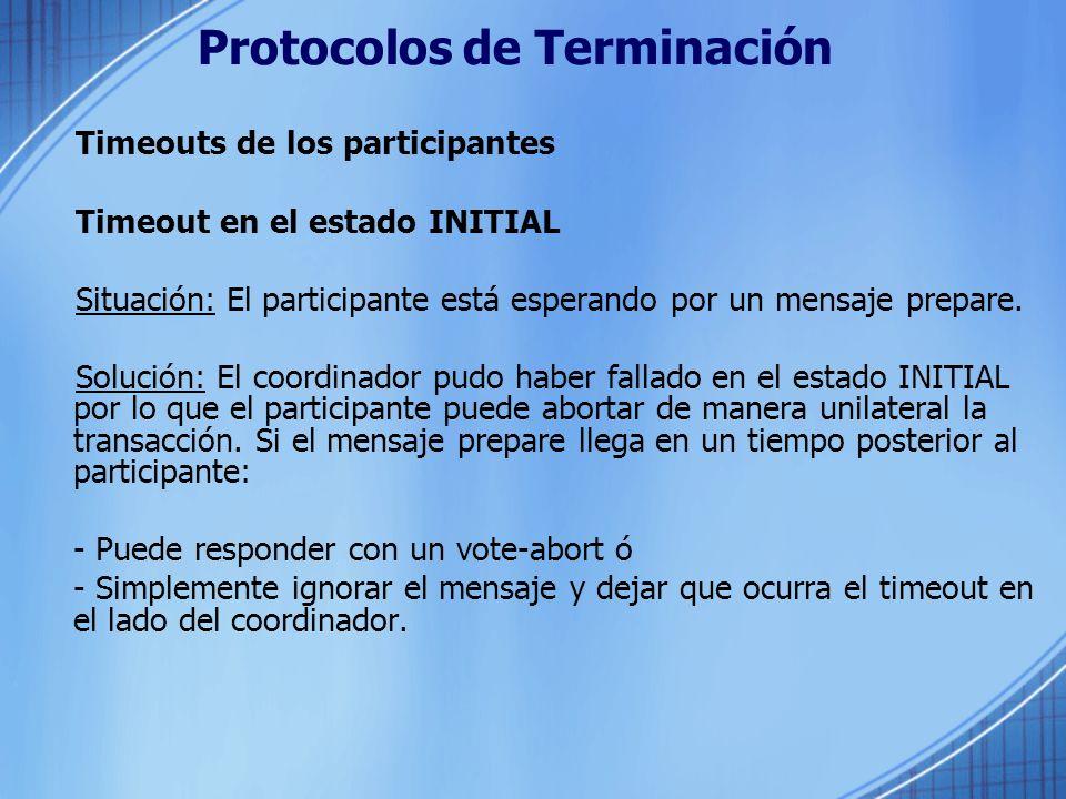 Protocolos de Terminación Timeouts de los participantes Timeout en el estado INITIAL Situación: El participante está esperando por un mensaje prepare.