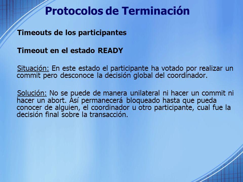 Protocolos de Terminación Timeouts de los participantes Timeout en el estado READY Situación: En este estado el participante ha votado por realizar un