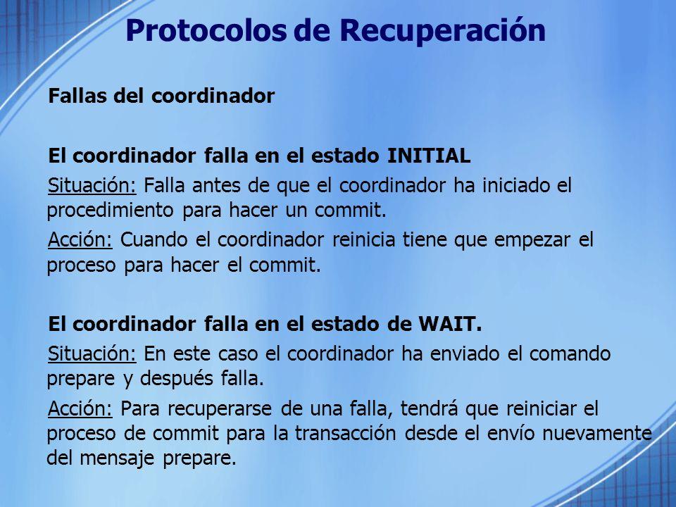 Protocolos de Recuperación Fallas del coordinador El coordinador falla en el estado INITIAL Situación: Falla antes de que el coordinador ha iniciado e