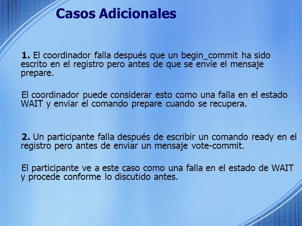 Casos Adicionales 1. El coordinador falla después que un begin_commit ha sido escrito en el registro pero antes de que se envíe el mensaje prepare. El