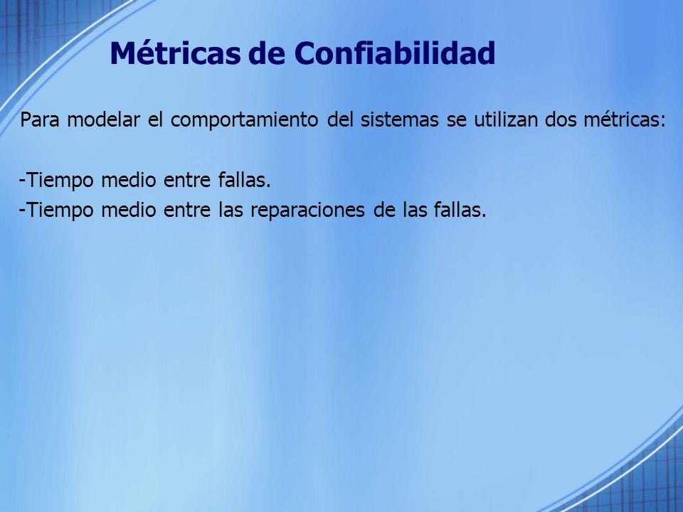 Métricas de Confiabilidad Para modelar el comportamiento del sistemas se utilizan dos métricas: -Tiempo medio entre fallas. -Tiempo medio entre las re