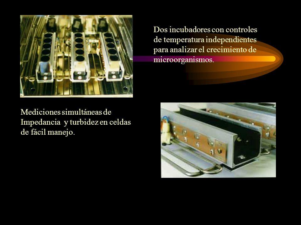 Mediciones simultáneas de Impedancia y turbidez en celdas de fácil manejo. Dos incubadores con controles de temperatura independientes para analizar e