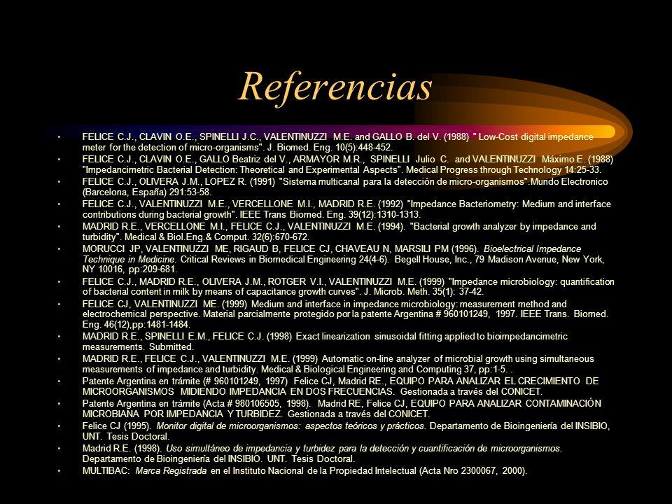 Referencias FELICE C.J., CLAVIN O.E., SPINELLI J.C., VALENTINUZZI M.E. and GALLO B. del V. (1988)