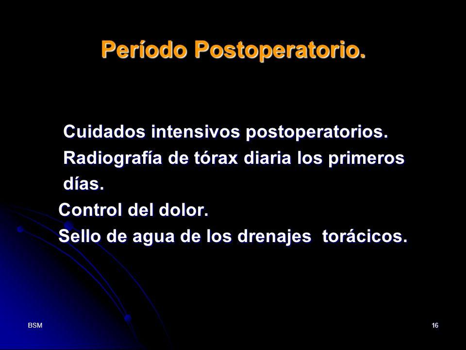 BSM16 Período Postoperatorio. Cuidados intensivos postoperatorios. Cuidados intensivos postoperatorios. Radiografía de tórax diaria los primeros Radio