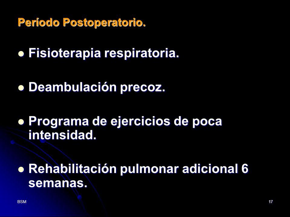 BSM17 Período Postoperatorio. Fisioterapia respiratoria. Fisioterapia respiratoria. Deambulación precoz. Deambulación precoz. Programa de ejercicios d