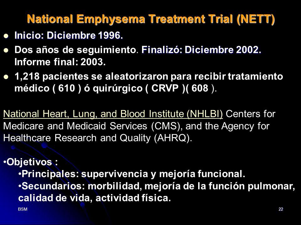 BSM22 National Emphysema Treatment Trial (NETT) Inicio: Diciembre 1996. Inicio: Diciembre 1996. Finalizó: Diciembre 2002. Dos años de seguimiento. Fin