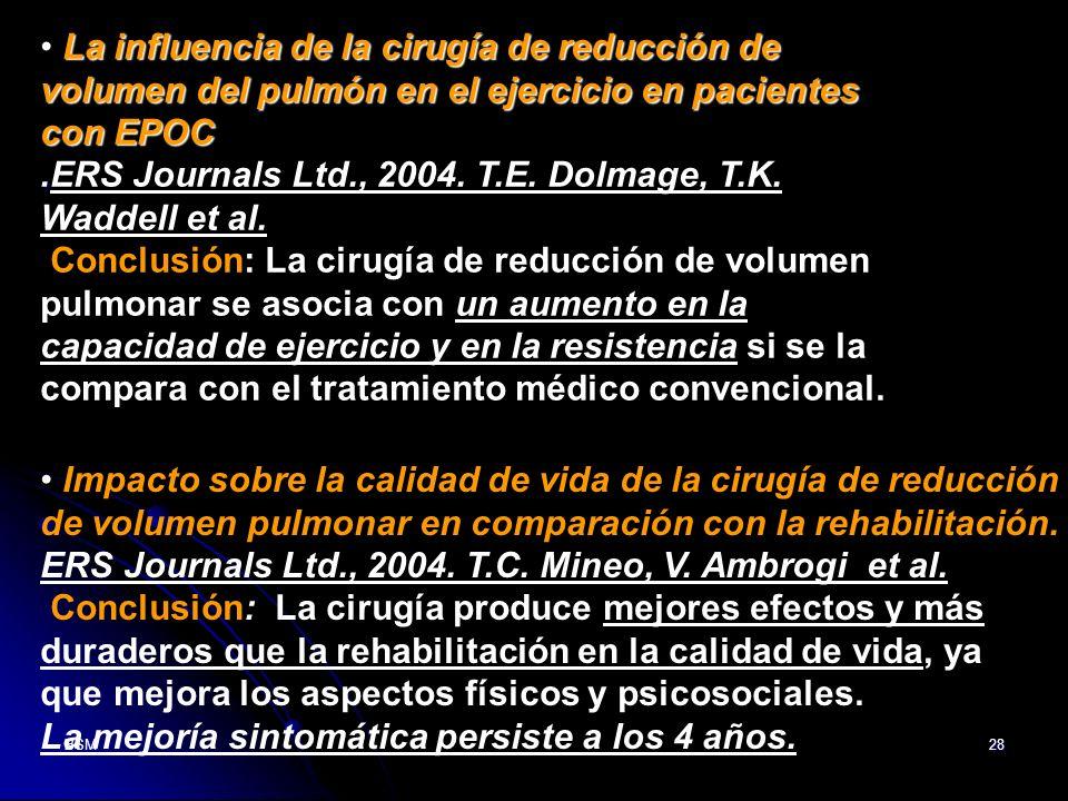 BSM28 La influencia de la cirugía de reducción de volumen del pulmón en el ejercicio en pacientes con EPOC. La influencia de la cirugía de reducción d