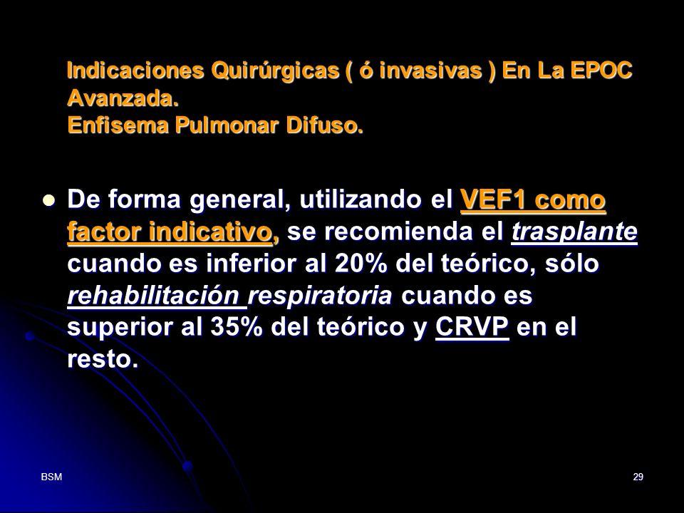 BSM29 Indicaciones Quirúrgicas ( ó invasivas ) En La EPOC Avanzada. Enfisema Pulmonar Difuso. Indicaciones Quirúrgicas ( ó invasivas ) En La EPOC Avan