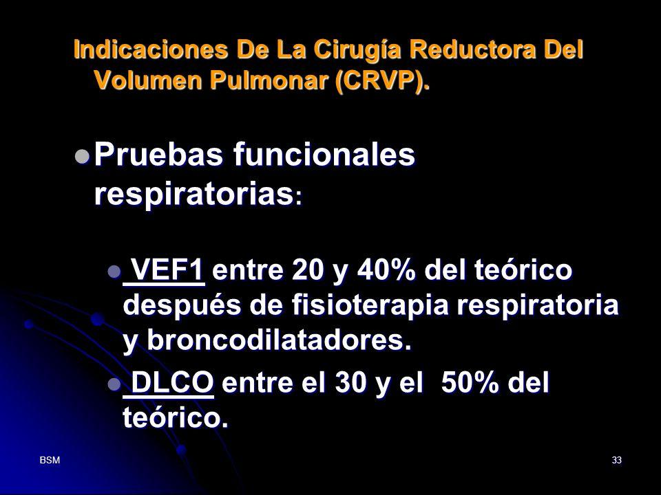 BSM33 Indicaciones De La Cirugía Reductora Del Volumen Pulmonar (CRVP). Pruebas funcionales respiratorias : Pruebas funcionales respiratorias : VEF1 e