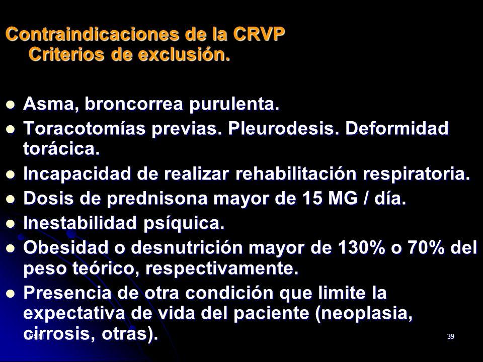 BSM39 Contraindicaciones de la CRVP Criterios de exclusión. Asma, broncorrea purulenta. Asma, broncorrea purulenta. Toracotomías previas. Pleurodesis.