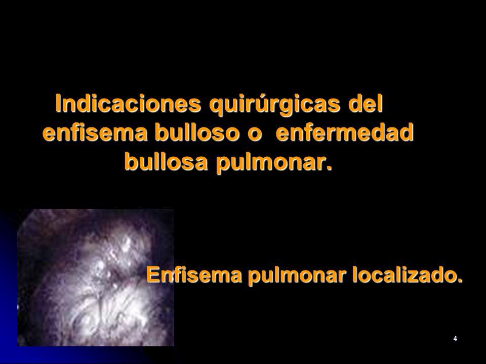 BSM4 Indicaciones quirúrgicas del enfisema bulloso o enfermedad bullosa pulmonar. Enfisema pulmonar localizado.