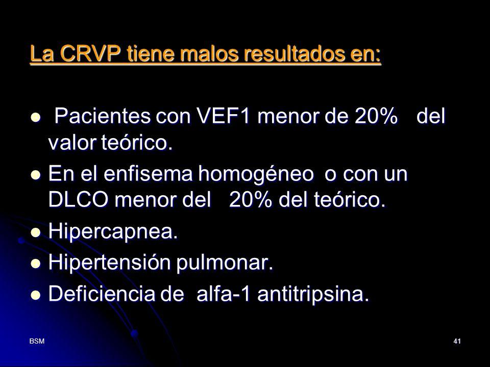 BSM41 La CRVP tiene malos resultados en: Pacientes con VEF1 menor de 20% del valor teórico. Pacientes con VEF1 menor de 20% del valor teórico. En el e