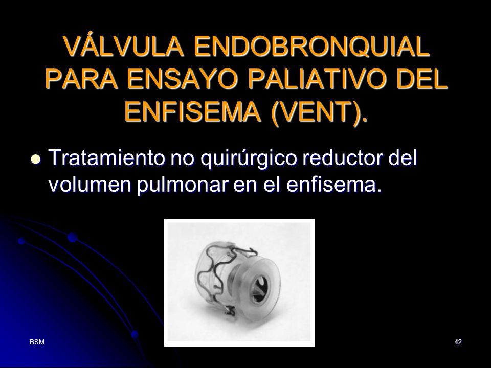 BSM42 VÁLVULA ENDOBRONQUIAL PARA ENSAYO PALIATIVO DEL ENFISEMA (VENT). Tratamiento no quirúrgico reductor del volumen pulmonar en el enfisema. Tratami
