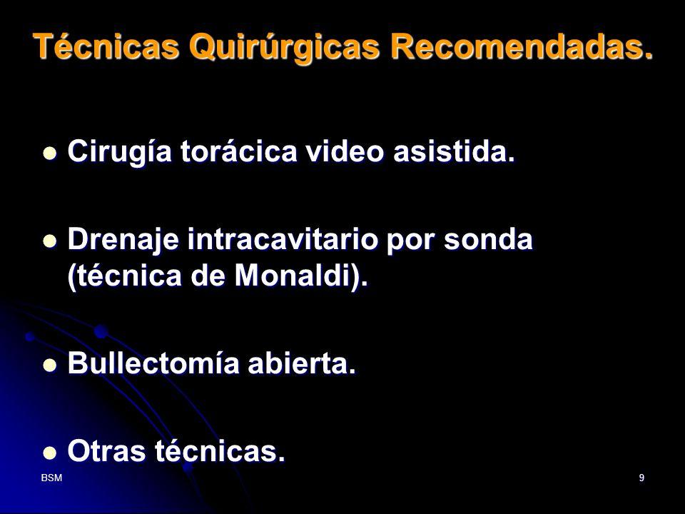 BSM9 Técnicas Quirúrgicas Recomendadas. Cirugía torácica video asistida. Cirugía torácica video asistida. Drenaje intracavitario por sonda (técnica de