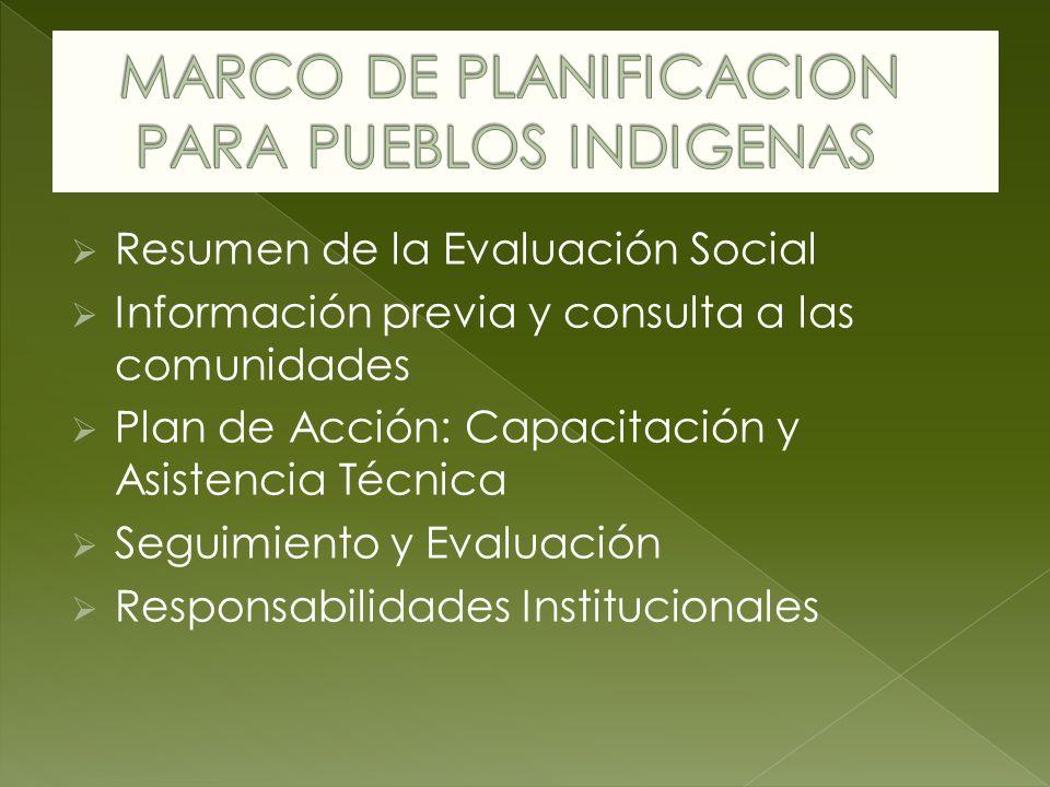 Resumen de la Evaluación Social Información previa y consulta a las comunidades Plan de Acción: Capacitación y Asistencia Técnica Seguimiento y Evaluación Responsabilidades Institucionales