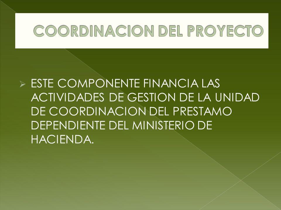 ESTE COMPONENTE FINANCIA LAS ACTIVIDADES DE GESTION DE LA UNIDAD DE COORDINACION DEL PRESTAMO DEPENDIENTE DEL MINISTERIO DE HACIENDA.