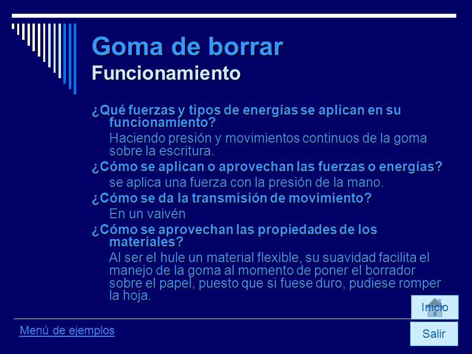 Goma de borrar Funcionamiento ¿Qué fuerzas y tipos de energías se aplican en su funcionamiento? Haciendo presión y movimientos continuos de la goma so