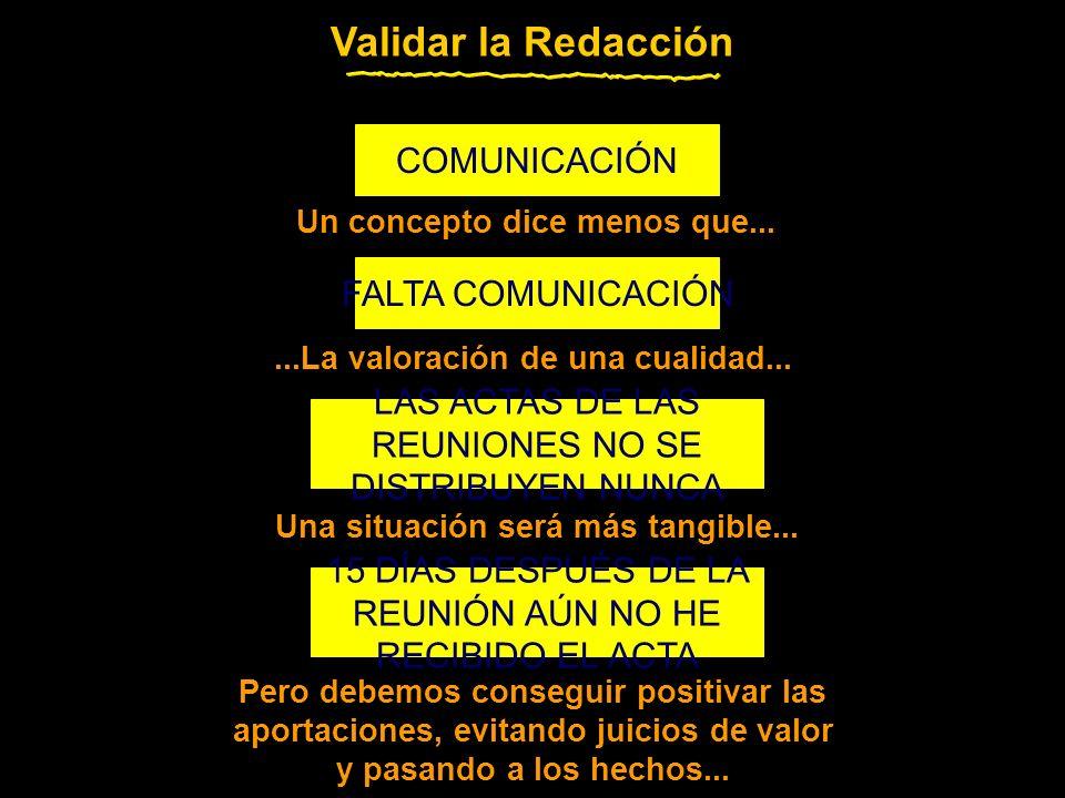 COMUNICACIÓN FALTA COMUNICACIÓN LAS ACTAS DE LAS REUNIONES NO SE DISTRIBUYEN NUNCA 15 DÍAS DESPUÉS DE LA REUNIÓN AÚN NO HE RECIBIDO EL ACTA Validar la Redacción Un concepto dice menos que......La valoración de una cualidad...