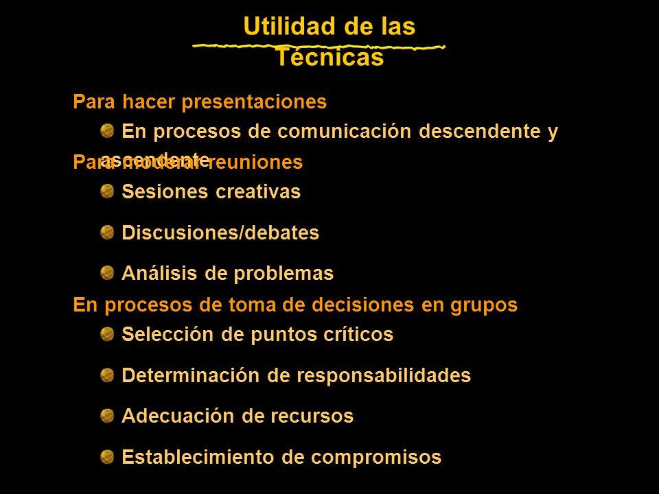 En procesos de comunicación descendente y ascendente Para hacer presentaciones Utilidad de las Técnicas Sesiones creativas Discusiones/debates Análisis de problemas Para moderar reuniones Selección de puntos críticos Determinación de responsabilidades Adecuación de recursos Establecimiento de compromisos En procesos de toma de decisiones en grupos