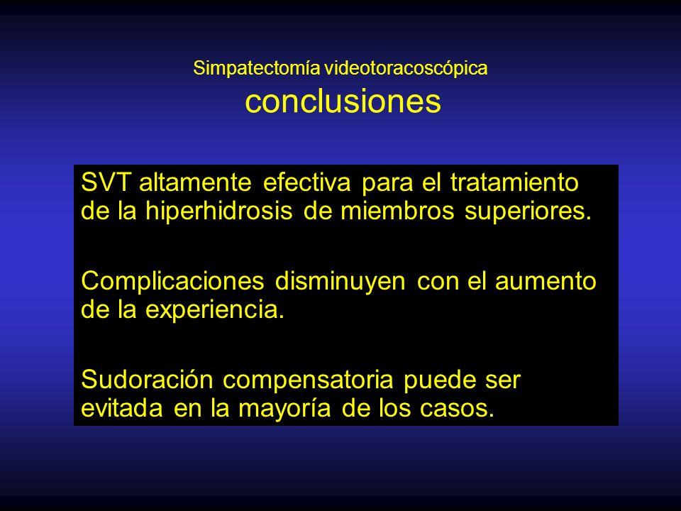 Simpatectomía videotoracoscópica conclusiones SVT altamente efectiva para el tratamiento de la hiperhidrosis de miembros superiores.