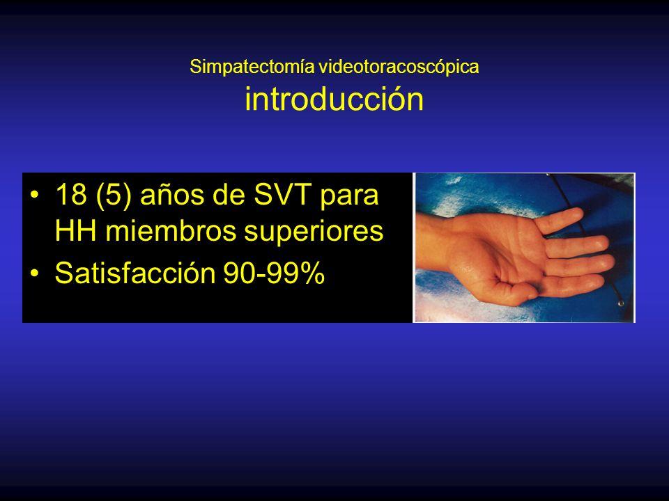 Simpatectomía videotoracoscópica introducción 18 (5) años de SVT para HH miembros superiores Satisfacción 90-99%