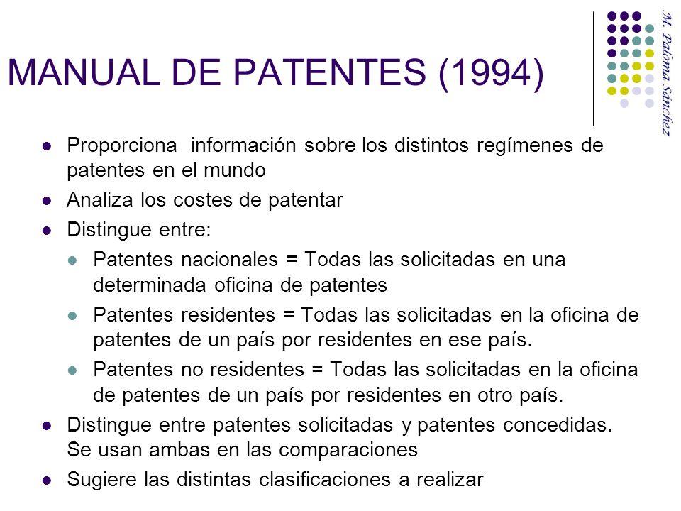 MANUAL DE PATENTES (1994) Proporciona información sobre los distintos regímenes de patentes en el mundo Analiza los costes de patentar Distingue entre