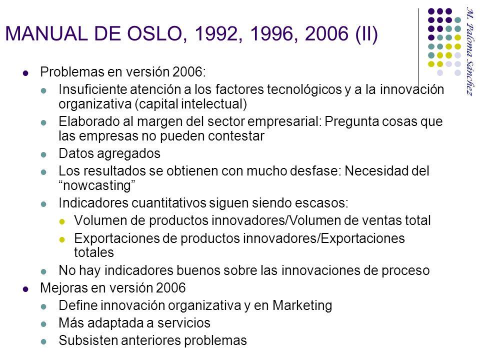 MANUAL DE OSLO, 1992, 1996, 2006 (II) Problemas en versión 2006: Insuficiente atención a los factores tecnológicos y a la innovación organizativa (cap