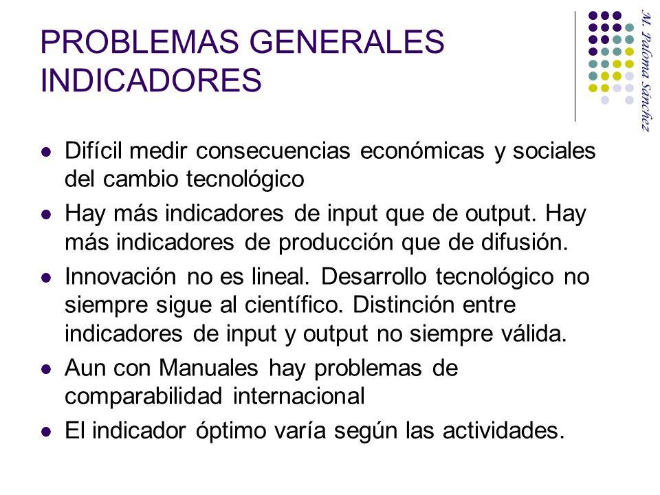 PROBLEMAS GENERALES INDICADORES Difícil medir consecuencias económicas y sociales del cambio tecnológico Hay más indicadores de input que de output. H
