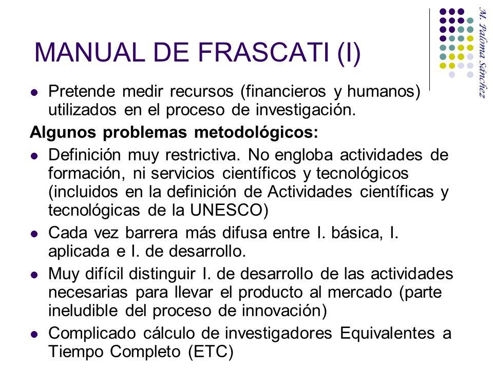 MANUAL DE FRASCATI (I) Pretende medir recursos (financieros y humanos) utilizados en el proceso de investigación. Algunos problemas metodológicos: Def