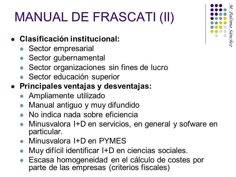 MANUAL DE FRASCATI (II) Clasificación institucional: Sector empresarial Sector gubernamental Sector organizaciones sin fines de lucro Sector educación