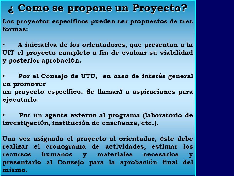 LOS PROYECTOS Becarios Son llevados a cabo por estudiantes de la institución, Becarios.