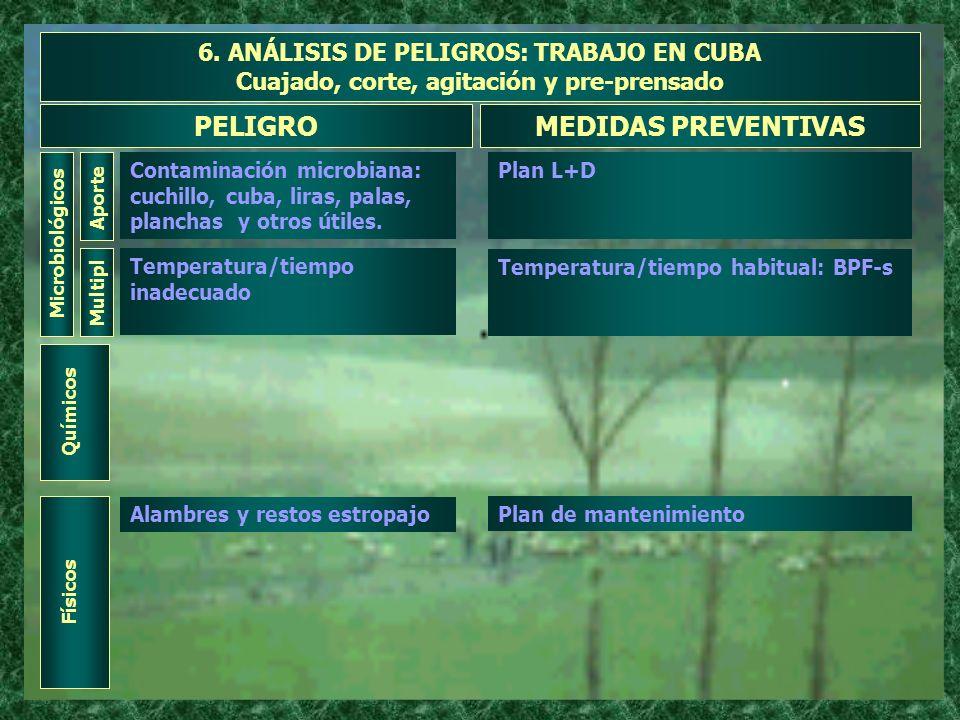 6. ANÁLISIS DE PELIGROS: TRABAJO EN CUBA Cuajado, corte, agitación y pre-prensado Microbiológicos Aporte PELIGROMEDIDAS PREVENTIVAS Contaminación micr