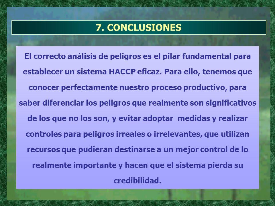 7. CONCLUSIONES El correcto análisis de peligros es el pilar fundamental para establecer un sistema HACCP eficaz. Para ello, tenemos que conocer perfe