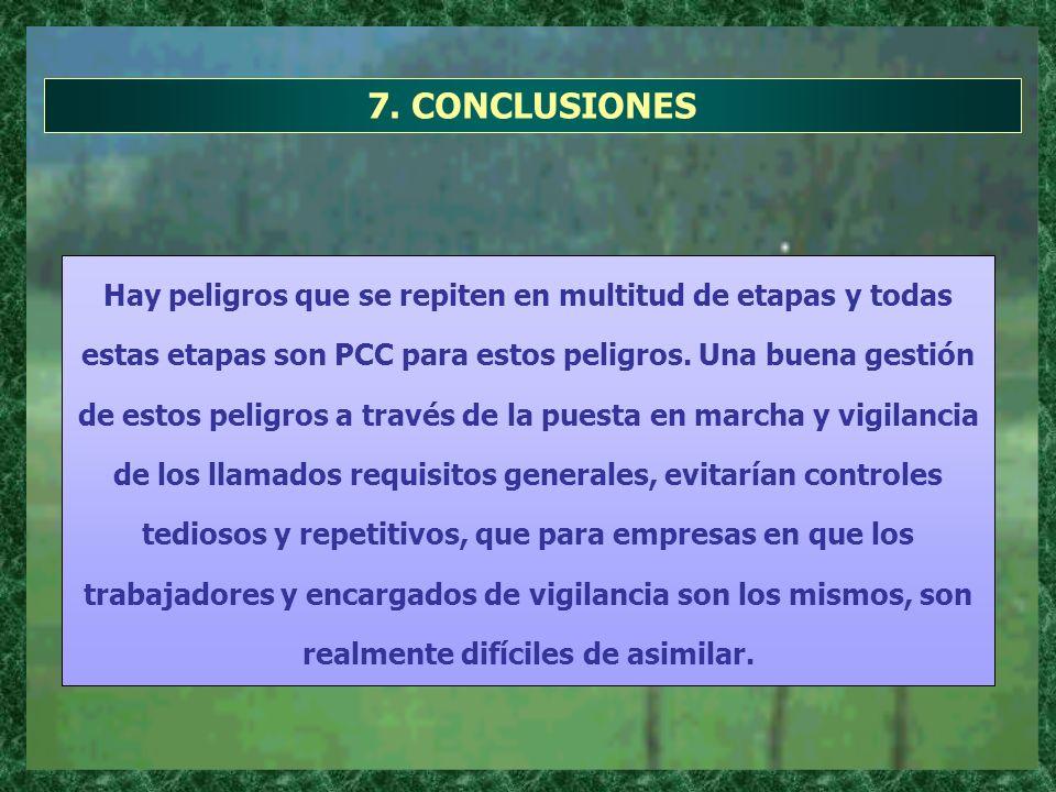 7. CONCLUSIONES Hay peligros que se repiten en multitud de etapas y todas estas etapas son PCC para estos peligros. Una buena gestión de estos peligro